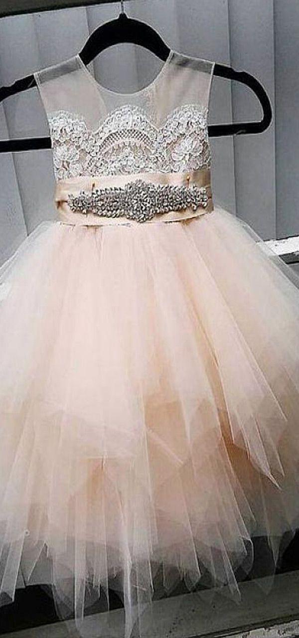 Cute Tulle Jewel Neckline Tea-length Ball Gown Flower Girl Dresses ...