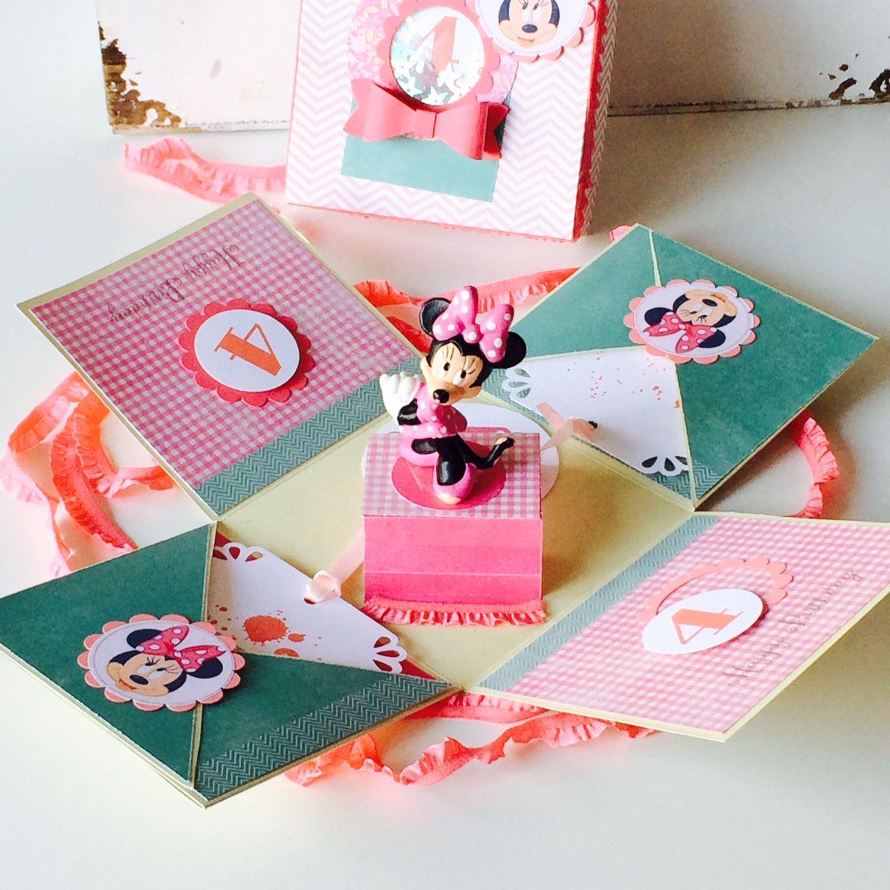 Minnie Mouse Explosionsbox mit Schüttelfenster, Minnie Mouse, origienelle Glückwunscharte zum Kindergeburtstag, Sandra Kolb, www.samey-atelierfarbstil.blogspot.de