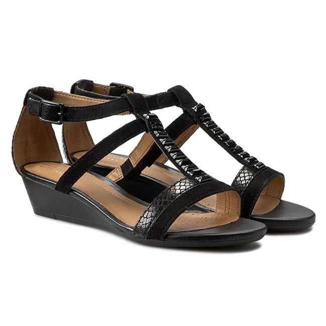 Sandaly Clarks Playful Fox 261140264 Czarny Clarks Shoes Wedges