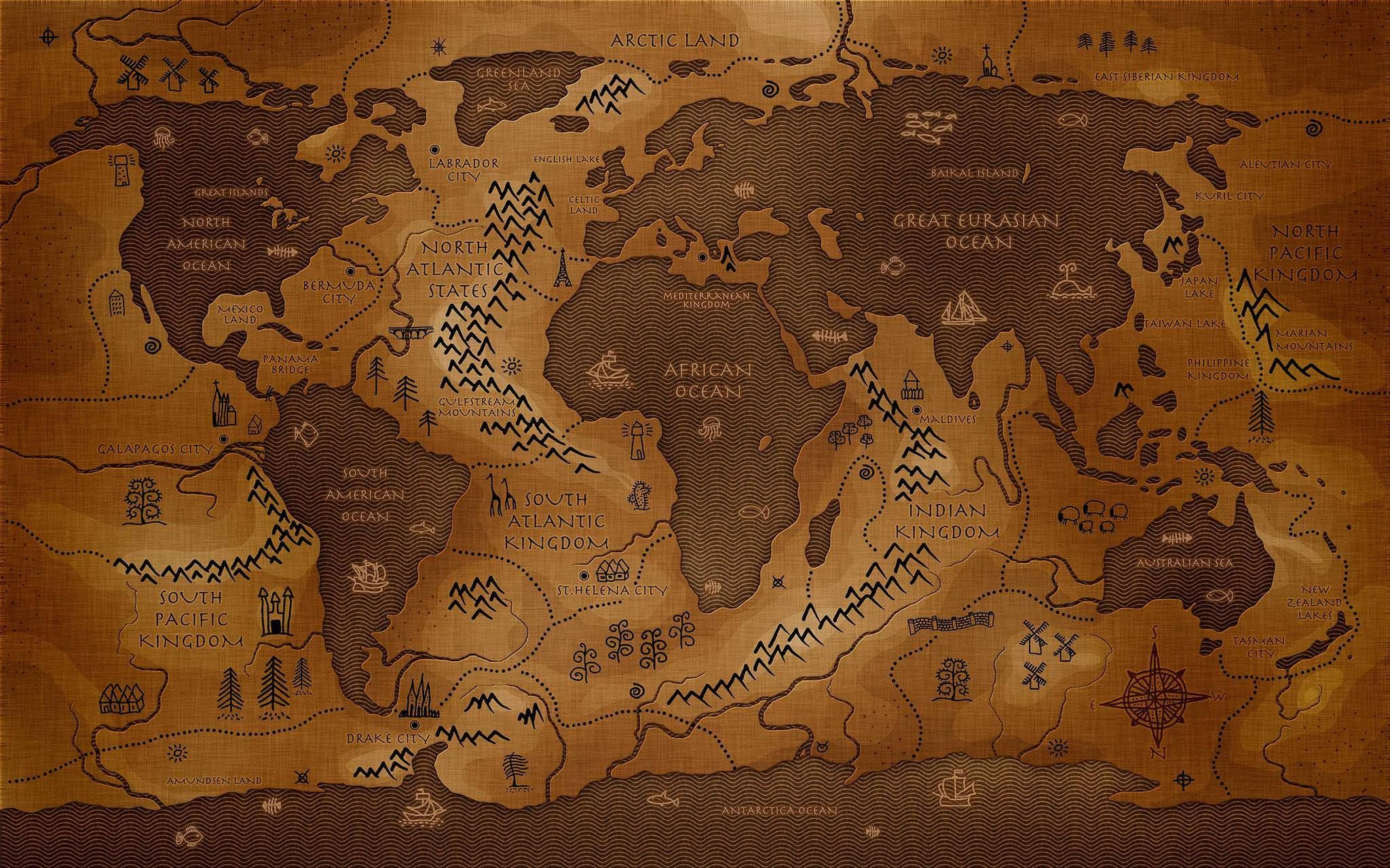 Inverted Map of the World Fantasy