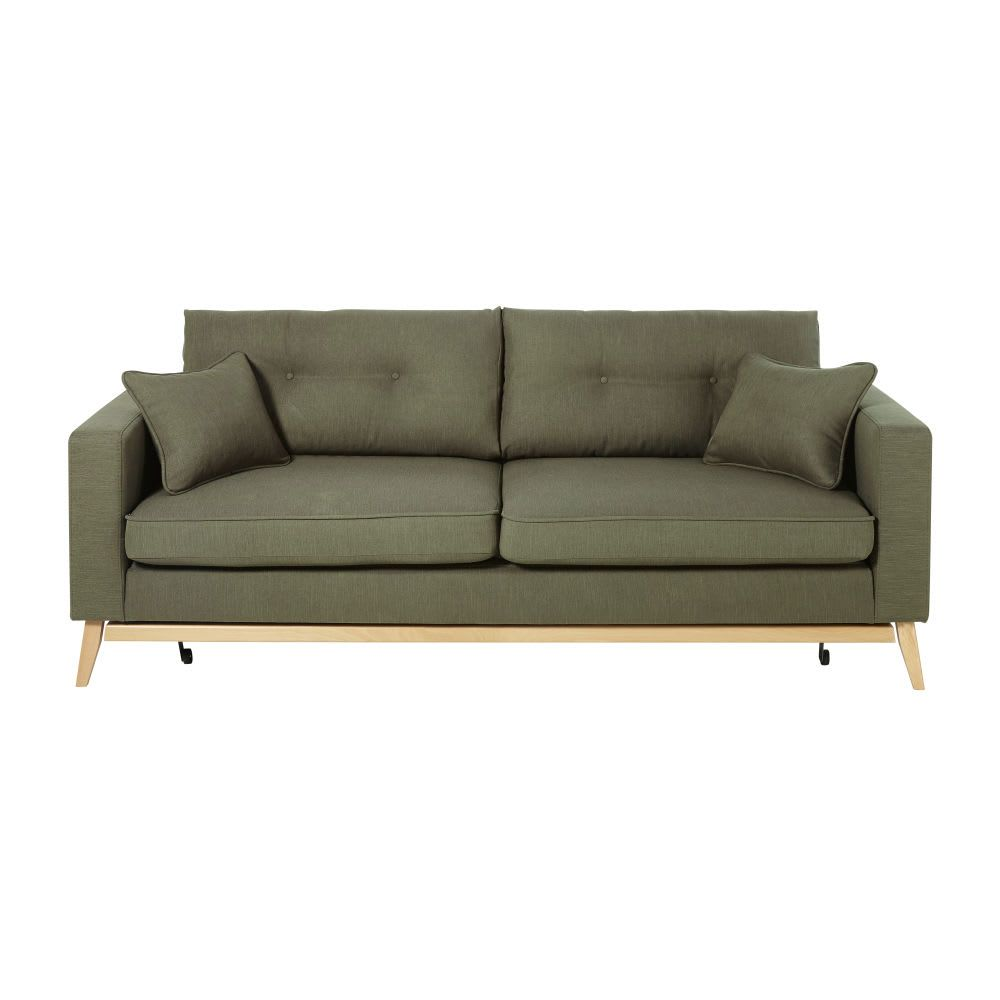 Sofa Cama De Estilo Escandinavo De 3 Plazas Verde Caqui Maisons Du Monde En 2020 Canape Retro Canape Gris Modulable Canape Convertible Vintage