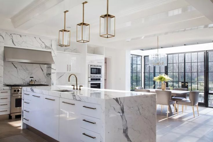 15 Gorgeous Kitchens With Waterfall Countertops #Countertops #gorgeous #Kitchens #marble_kitchen_countertops #Waterfall #waterfallcountertop