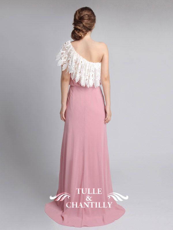 717f26d02957 Bohemian 3 in 1 Dusty Pink Lace Covered Backless Bridesmaid Dress ...
