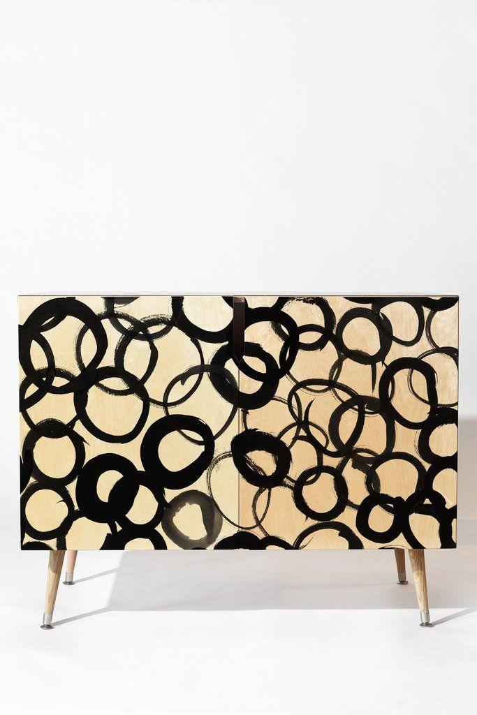 Amy Sia Watercolor Circle Black Credenza | DENY Designs Home Accessories