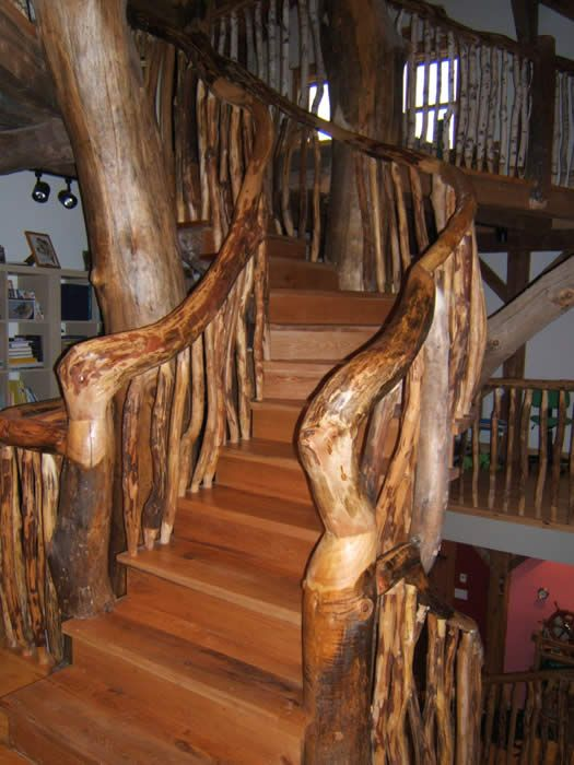 Best The Tree Stair Case In The Timber Frame Timber Frame 400 x 300