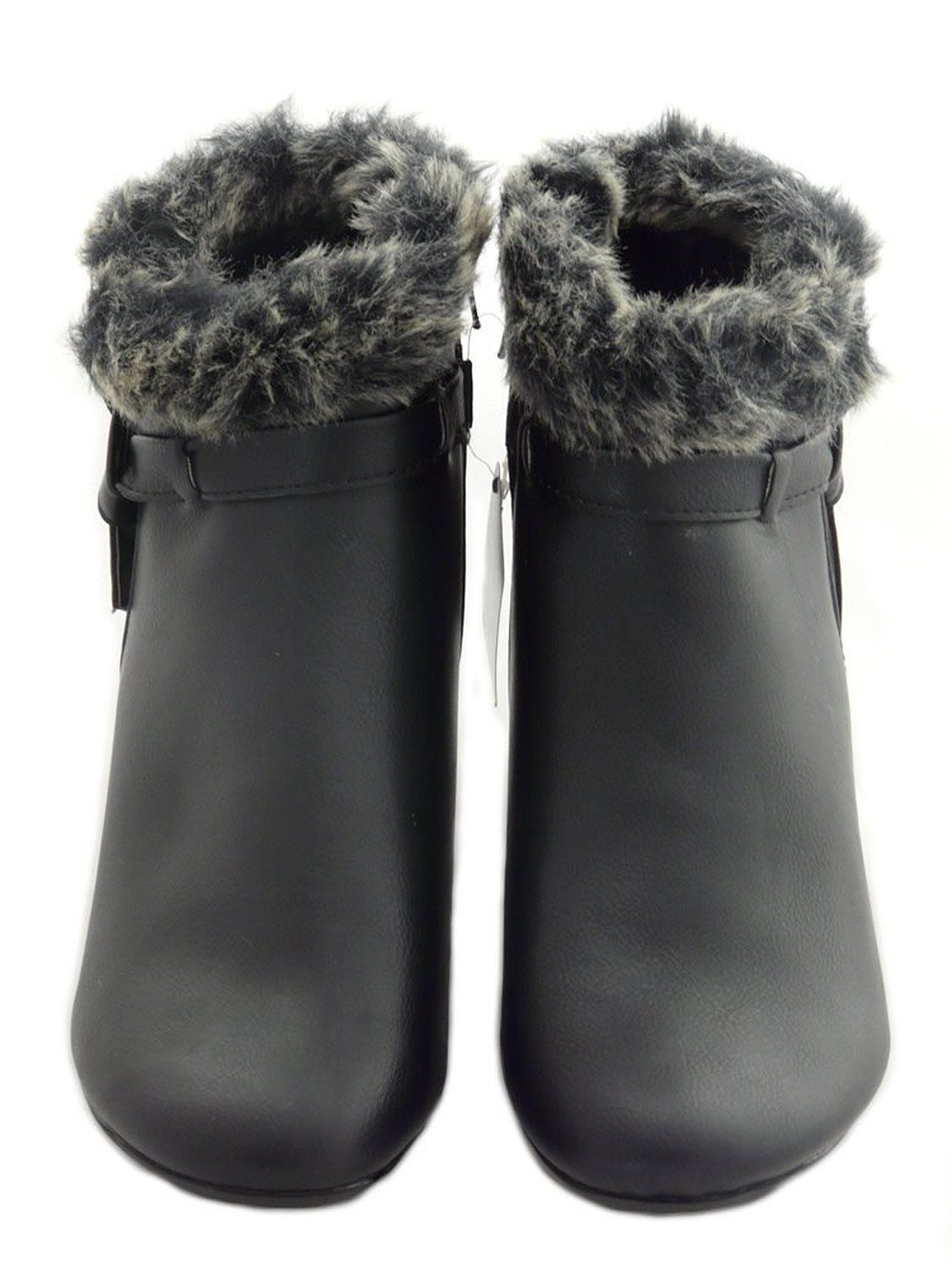 71c68803c5b01 Cushion Walk Women's Faux Leather Ankle Boots with Fur Collar and ...