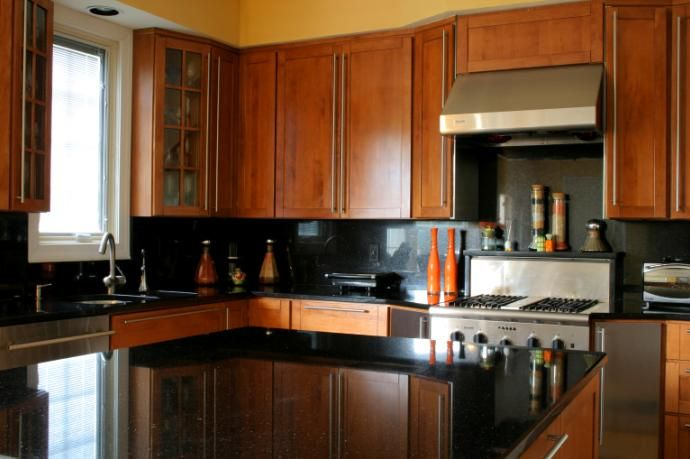 Elegant Black Countertops | In This Photo Black Galaxy Or By Home Improvements  Countertops .
