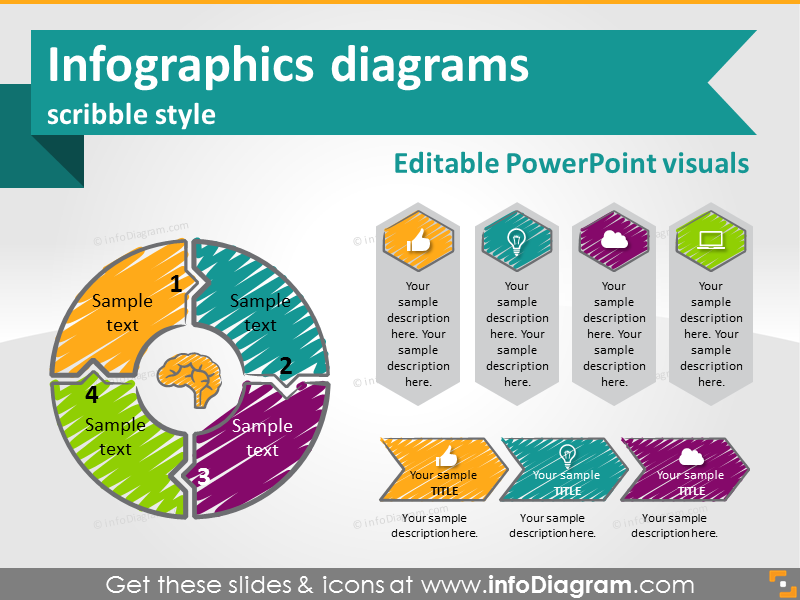 Hand Drawn Scribbled Infographics diagrams and symbols (PPT shapes ...