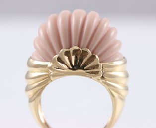 1980s Carved Coral Bombe Ring.