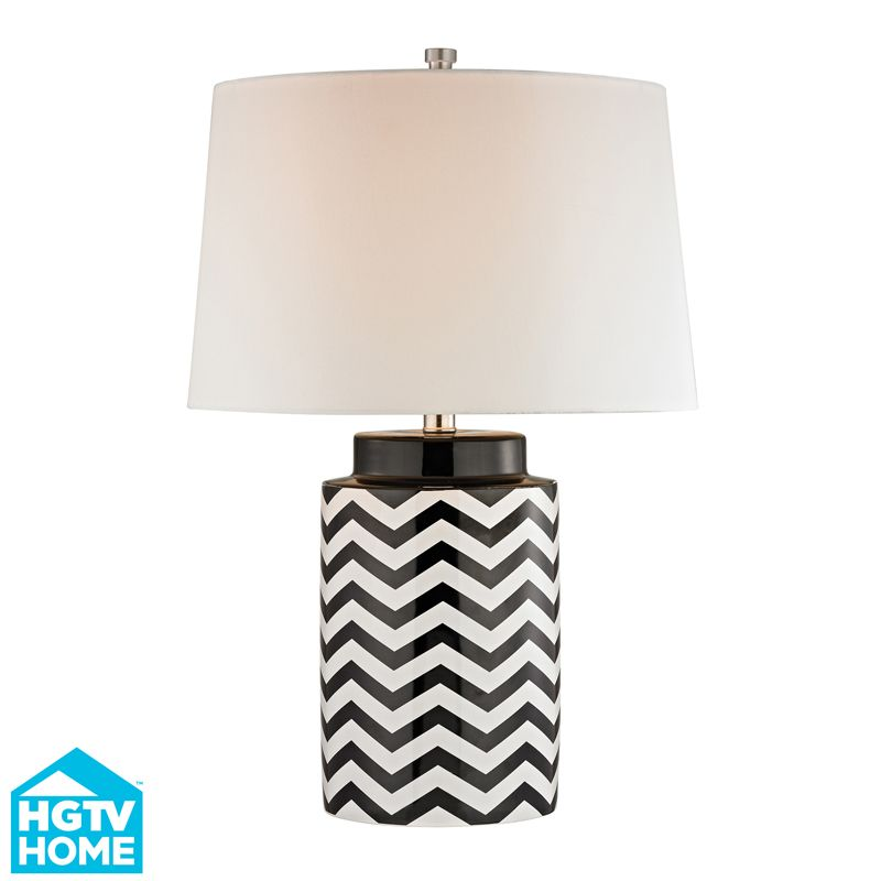 Hgtv339 Macaw Well 1 Light Table Lamp In Black White Black Table Lamps Table Lamp Ceramic Table Lamps Black and white table lamp