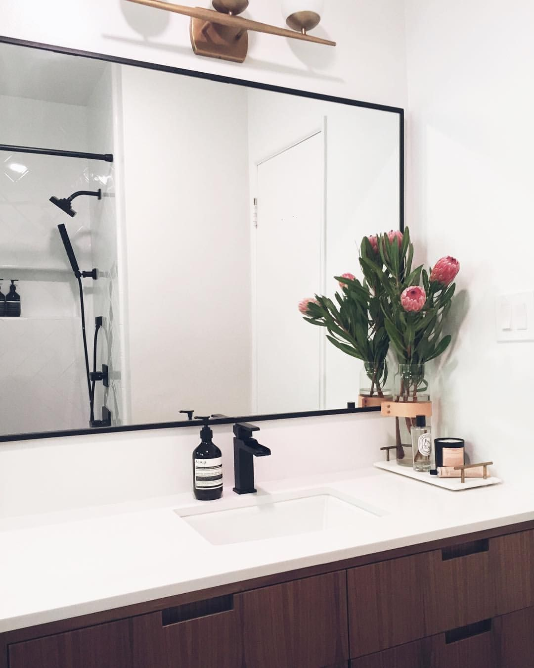 Black accents (With images) | Custom vanity, Framed ...