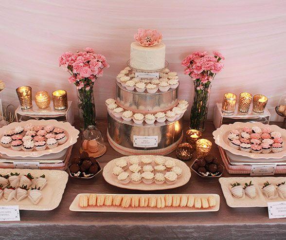 Miniature Desserts Adorn A Metallic Silver Cake, Creating