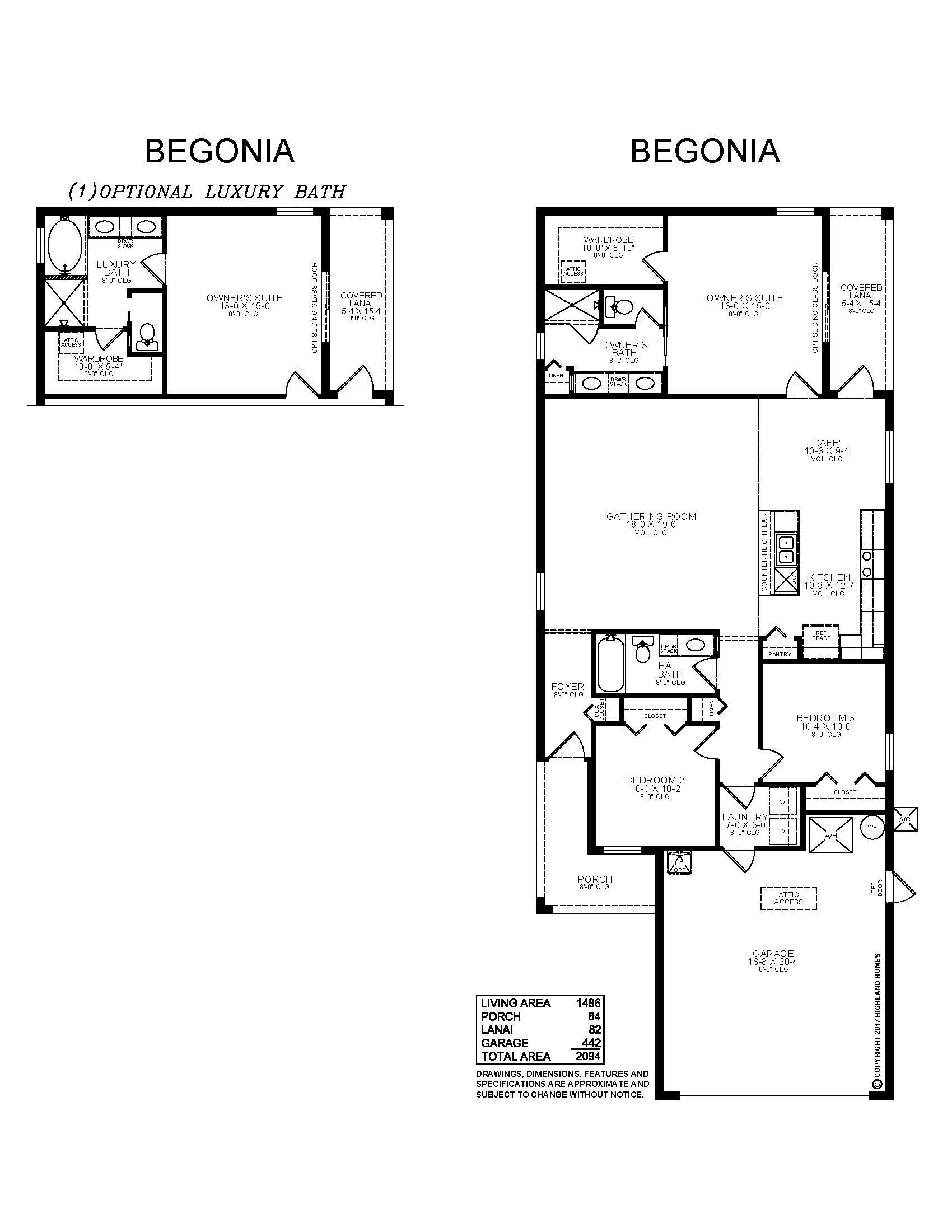 Introducing The Begonia A New Florida Home Plan By Highland Homes This Home Features 1 486 Sq Ft 3 Beds 2 Bath Highland Homes Florida Home Layout Meaning