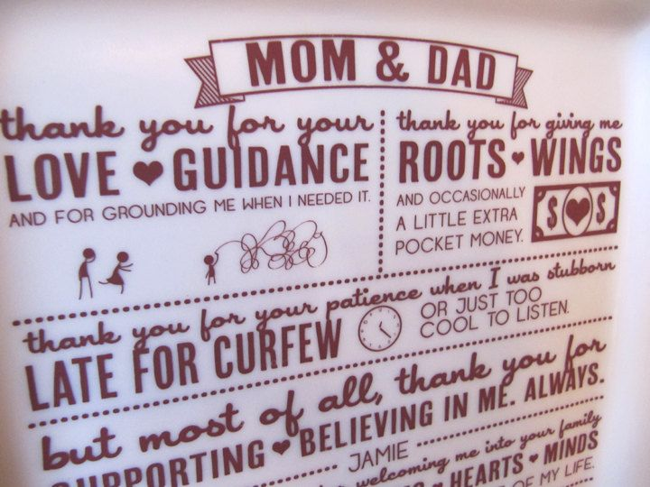 Parent Wedding Gift--Thank You Platter from Bride and Groom ...