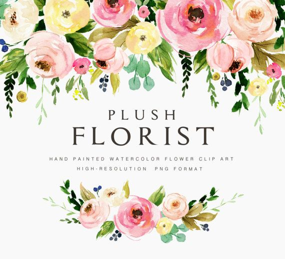 Watercolor Flower Clipart Plush Florist Small Set Individual Png