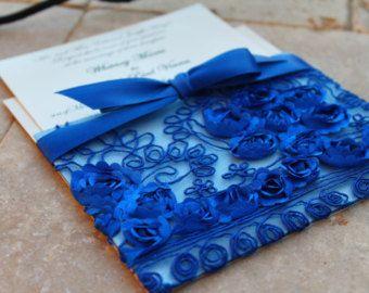 Royal Blue Lace Wedding Invitation Sleeve U2013 Etsy ES