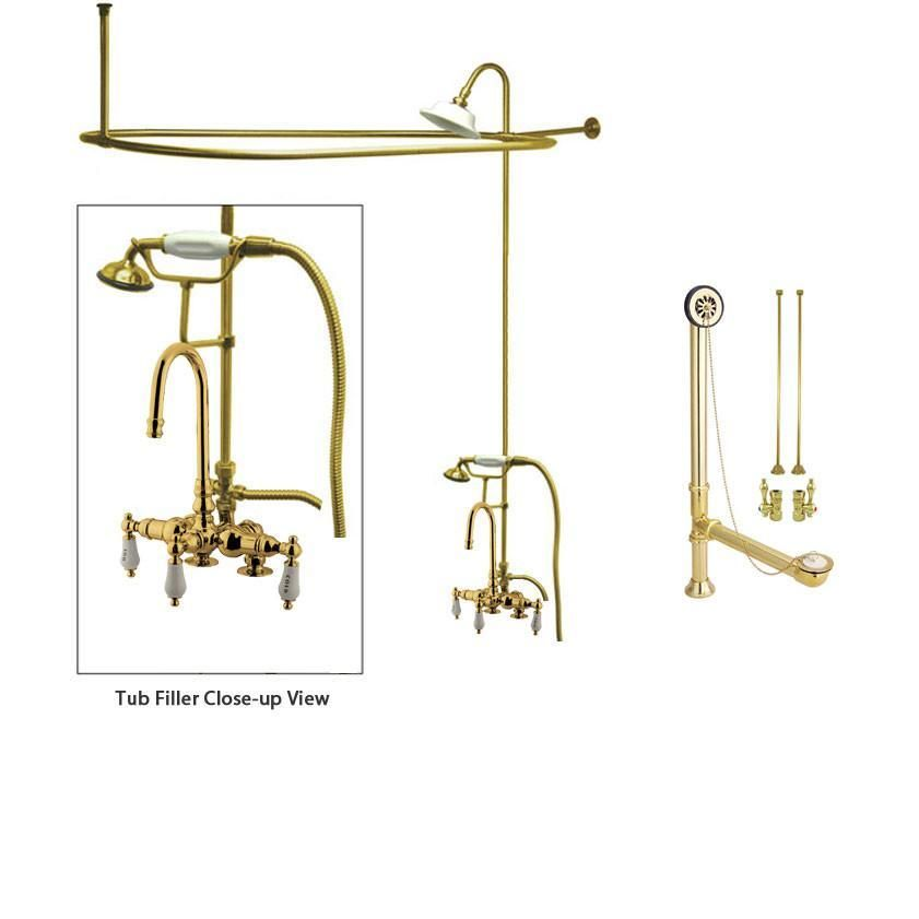 Polished Brass Clawfoot Tub Shower Faucet Kit with Enclosure Curtain ...