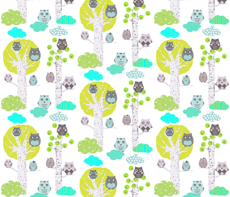 Owls in trees white fabric by katarina on Spoonflower - custom fabric   LOVE this!