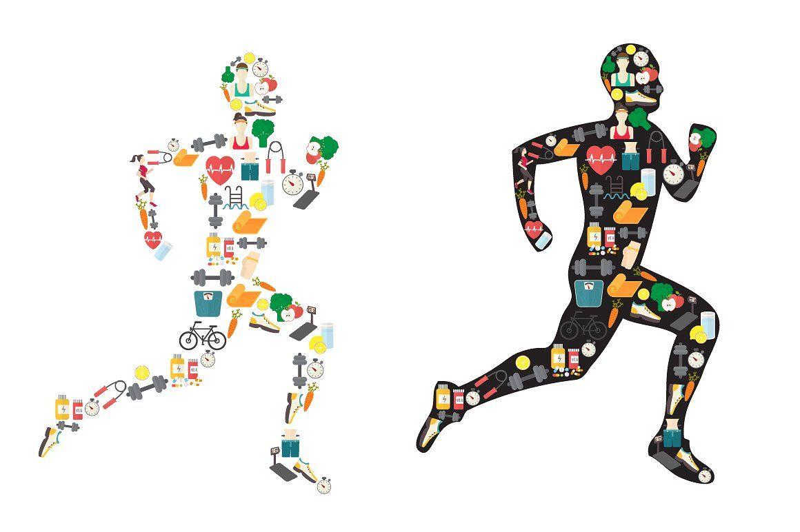 Running man silhouette, sport icons Sport icon, Running
