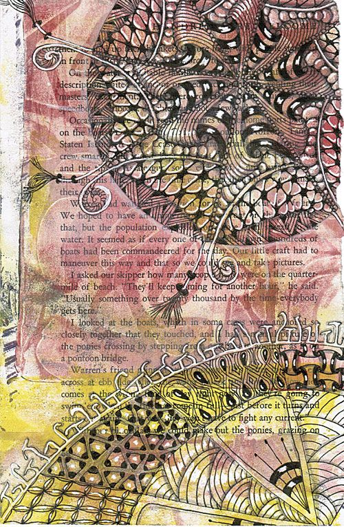 zentangle old books and gelatin prints oh my - Prints On Old Book Pages