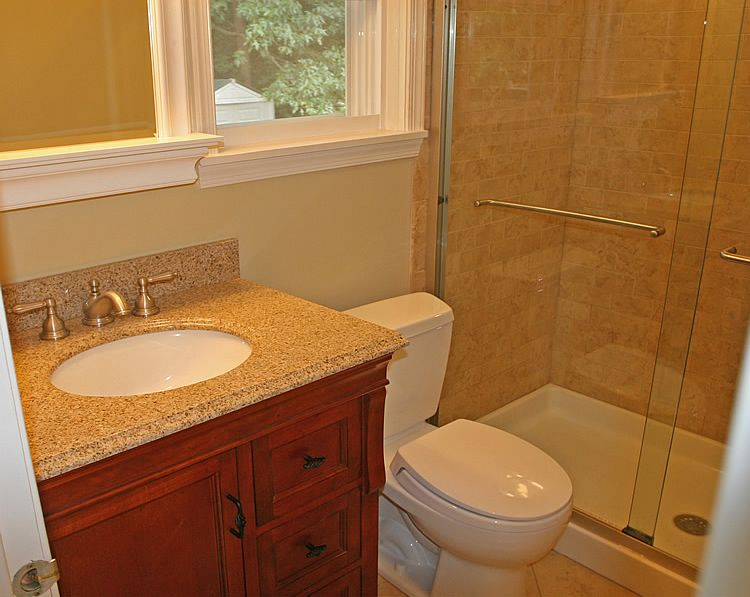 Small Bathroom Makeovers | Picture Of Small Bathroom Granite Counter Top On  30