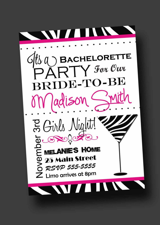 Bachelorette Party Invitation Zebra Print Printable Digital – Bachelorette Party Invitation Ideas
