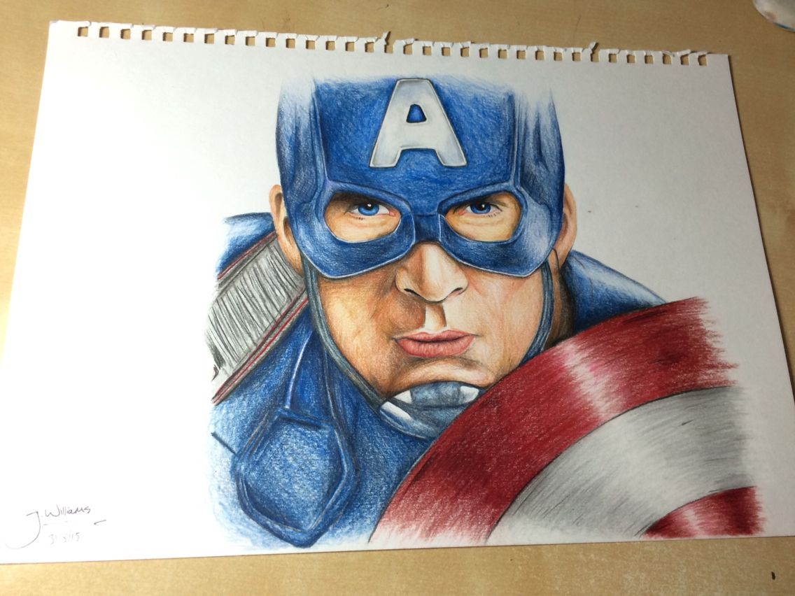 Captain America Colour Pencil Drawing Age 16 Josh Williams Captain America Drawing Color Pencil Drawing Marvel Drawings