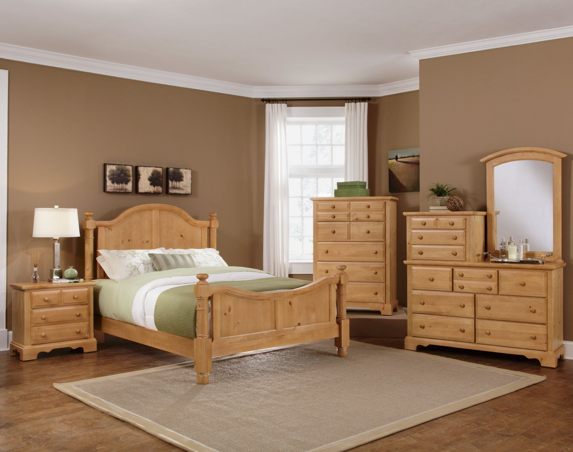 The Vaughan Bassett Farmhouse Washed Pine Bedroom Suite at ...