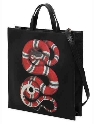 32e4a6b18f29 SNAKE PRINT GRAINED LEATHER TOTE BAG | Men'swear Loud (TWO) | Gucci ...