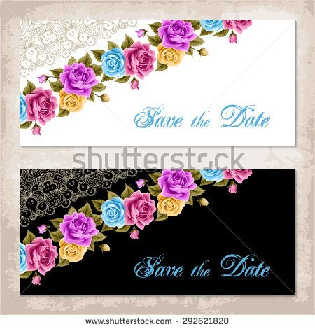 Vintage invitation template with roses and golden lace corner - vintage invitation template