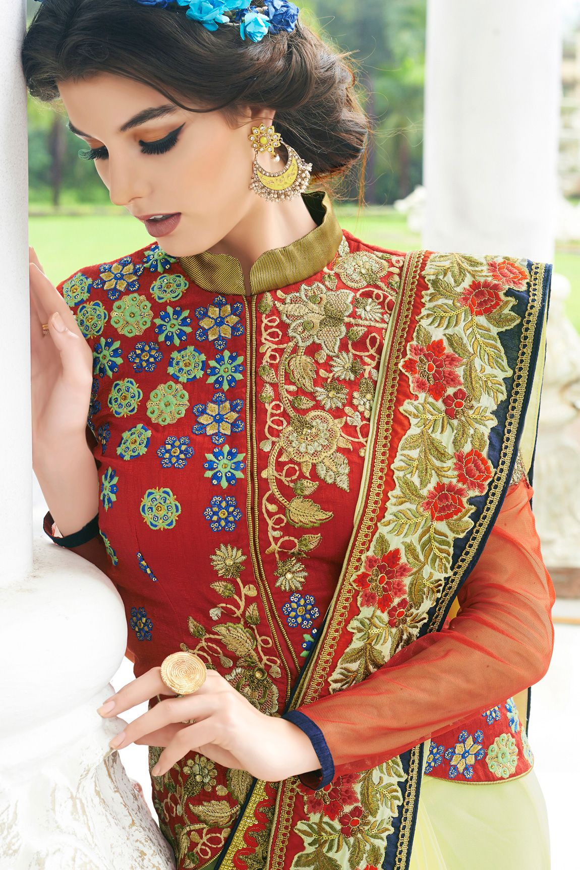 e319ec4ad8 Bhelpuri Yellow Georgette Embroidered Saree With Red Raw Silk Blouse Piece