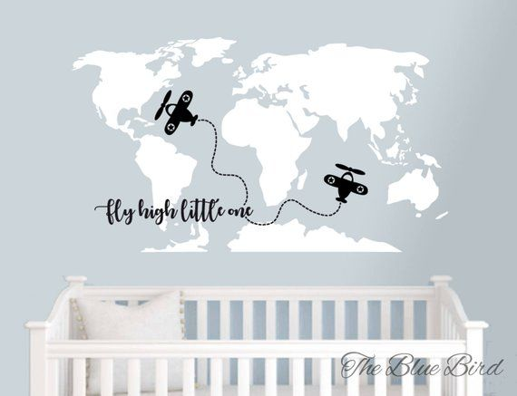 Map Of The World Decal.Map Wall Decal Wall Decal Map World Map Decal Nursery Decals