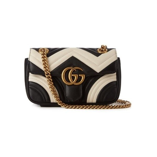 Gucci GG Marmont mini quilted-leather cross-body bag (€1.650) ❤ liked on Polyvore featuring bags, handbags, shoulder bags, black white, mini shoulder bag, mini crossbody handbags, mini cross body purse, cross-body handbag and mini crossbody