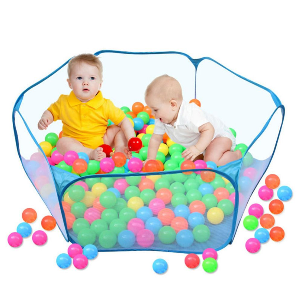 Washable Lamptti Baby Playpen with 10 Ocean Balls Foldable Children Safety Fence 6 Panel Kids Activity Center Room Fitted Floor Mats for Babies//Toddler//Newborn//Infant Safe Crawling Blue