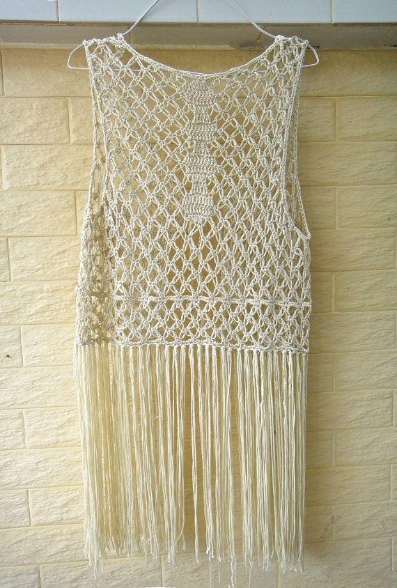 Tie Front Long Fringe Crochet Vest | Crochê & ideias ... | Pinterest ...