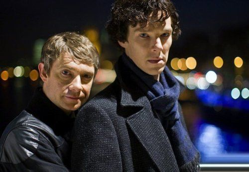 """Everyone's been asking us if we're going any further with the relationship between John and Sherlock, and I'm thinking, well, why not? I really don't see the problem with it, and Mark (Gatiss) has already asked us if it would be an issue if we were to kiss on screen. Of course he was joking, but I wouldn't mind at all."" - Martin Freeman     *insane  giggling* I doubt it will happen, but I would be pleased..."