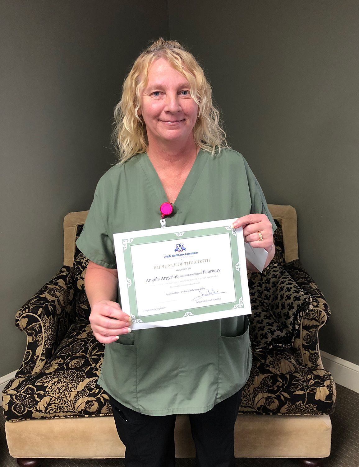 Employee of the Month Angela Argyriou Position