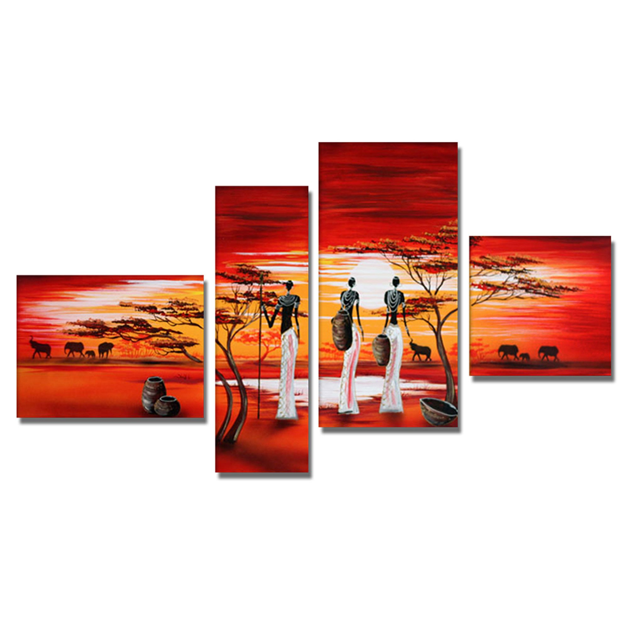 Tableau Triptyque Paysage African Woman View Of The Land Canvas Wall Art Oil Painting Art