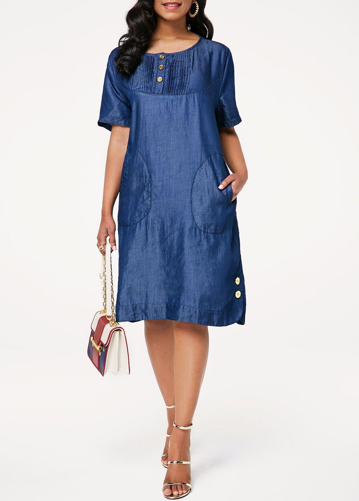 d28e587539 Button Embellished Pocket Crinkle Chest Denim Shift Dress