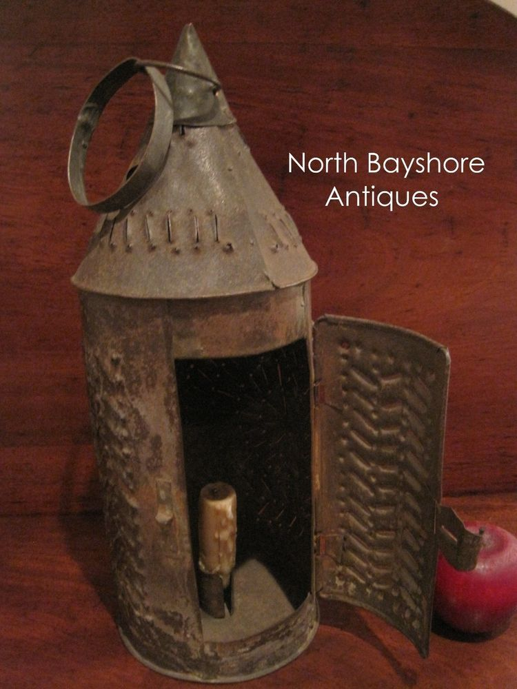 Antique 1700s Colonial Huge Witch Hat Folk Art Punched Tin Candle Lantern Aafa Naiveprimitive Tin Candles Candle Lanterns Punched Tin