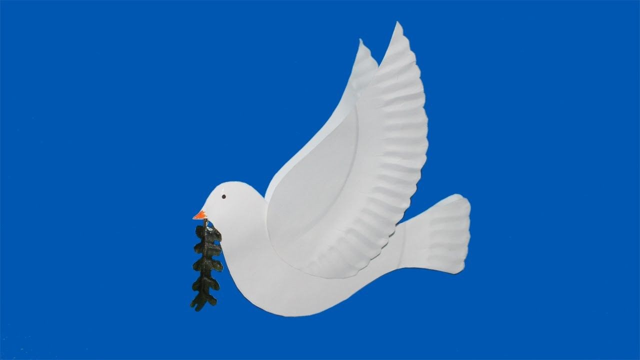 Make a dove with paper plates More
