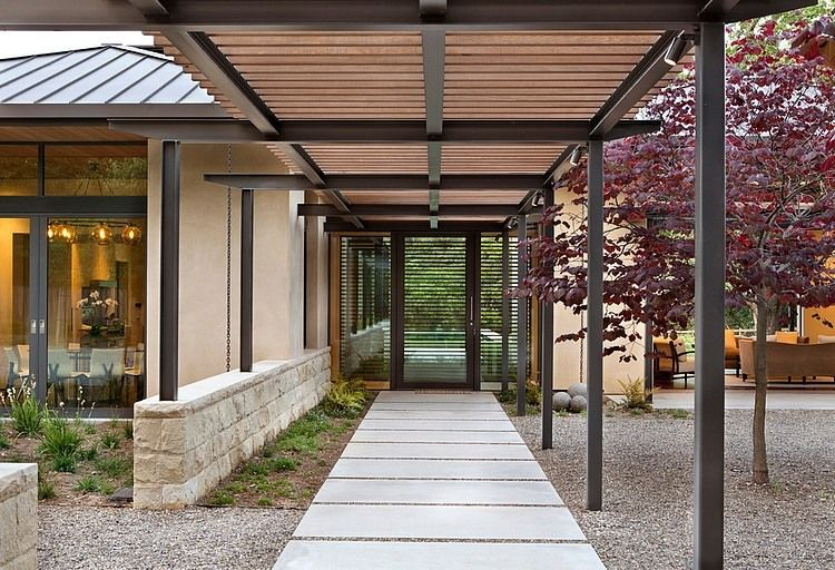 Meadow Creek Residence By Arcanum Architecture Homeadore Covered Walkway Architecture Woodside Homes