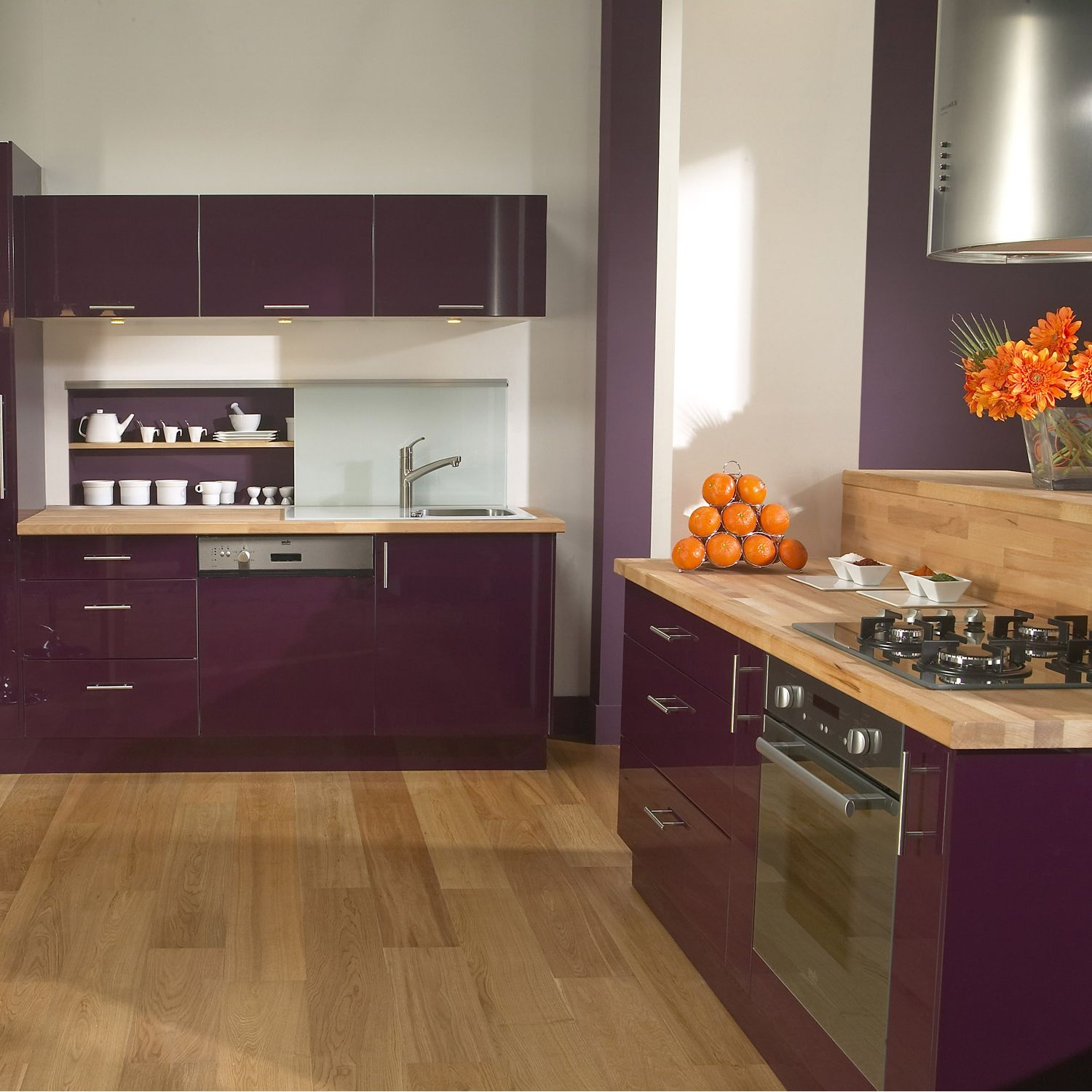 meuble de cuisine delinia composition type aubergine. Black Bedroom Furniture Sets. Home Design Ideas