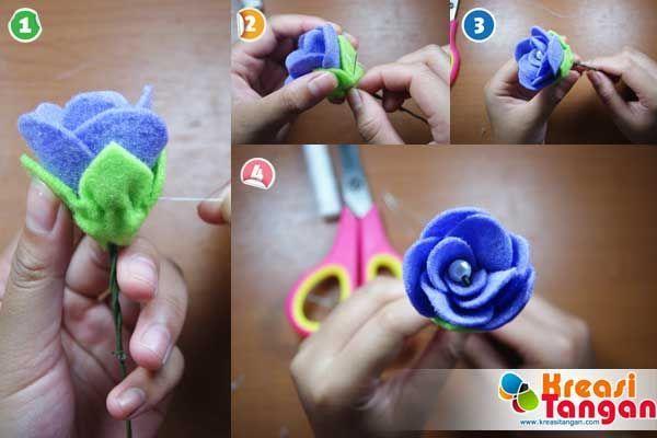 Tutorial Membuat Flowerhand Dari Kain Flanel Felt Flower Kain