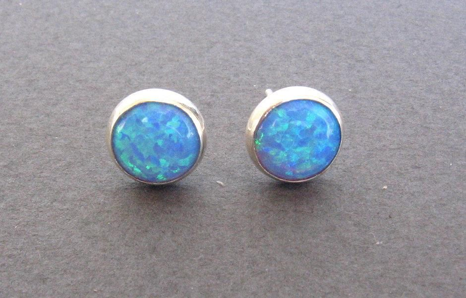 Opal Stud Earrings Post Silver Sterling 8mm Blue