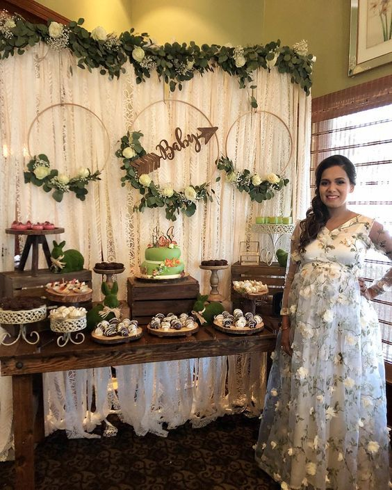 Tendencias Baby Shower 2019 : tendencias, shower, Photo, Booth, Decorated, Leaves, Garland, Wreath, Bohemian, Shower,, Shower, Woodland, Theme,, Unique, Themes