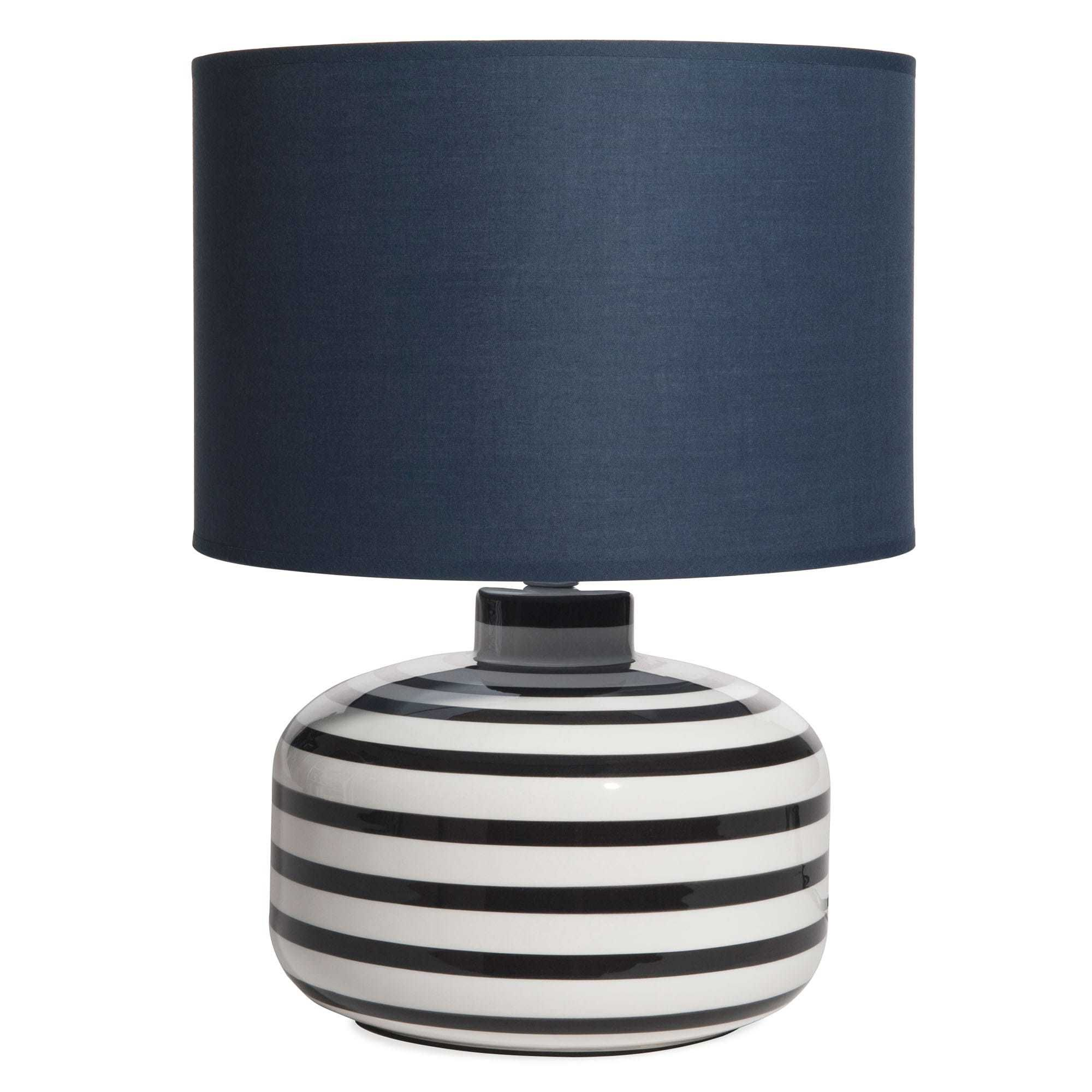 lampe en c ramique ray e abat jour bleu marine lampe de chevet en 2018 pinterest abat jour. Black Bedroom Furniture Sets. Home Design Ideas