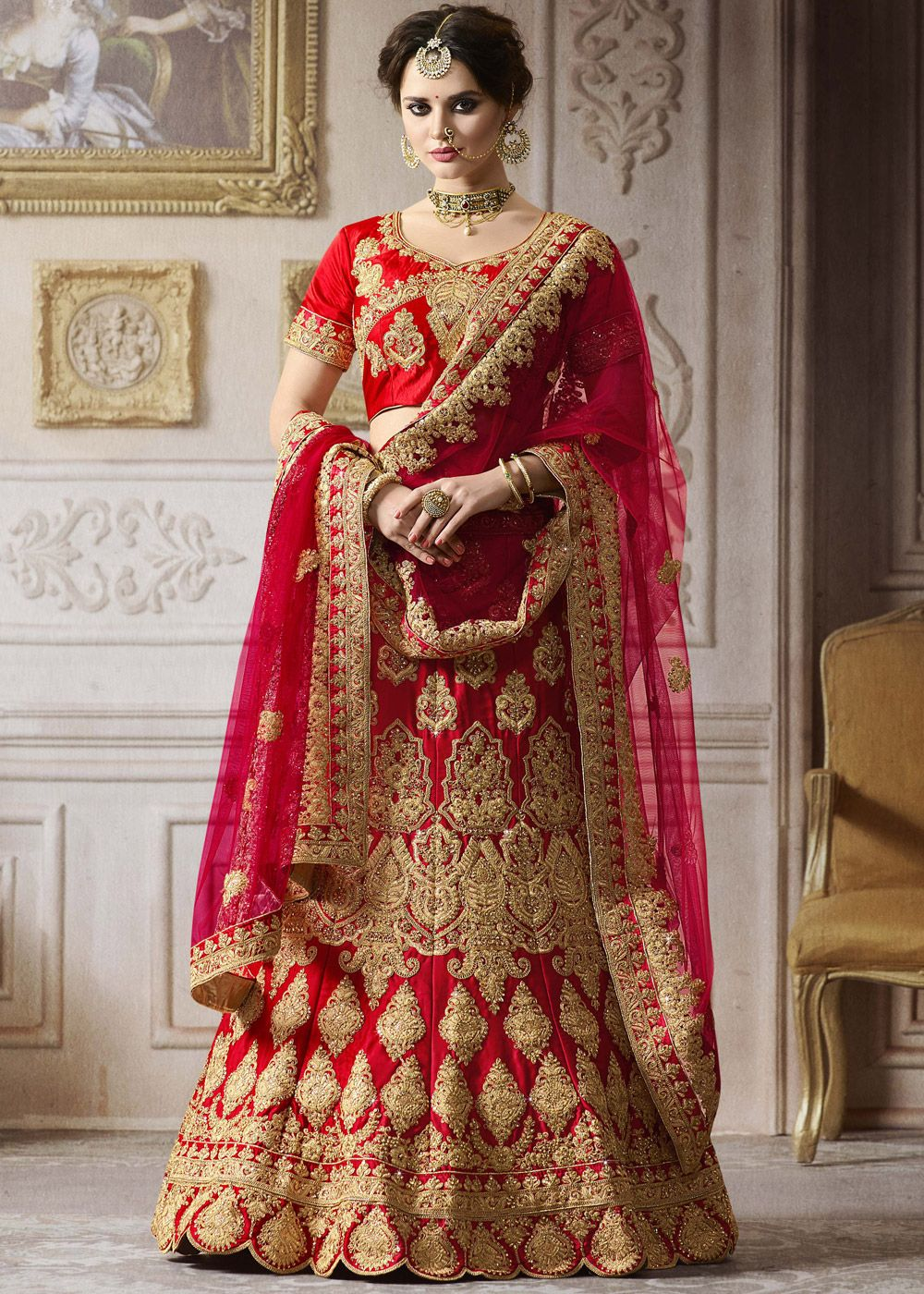 f893e54f66e8 Panash Lehenga - Buy Red Satin Bridal Lehenga Choli with Dupatta online,  Work: Embroidered, Kundan Work, Stone Work, Zari, Color : Red, Occassion :  Bridal, ...