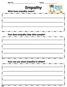 Empathy Worksheet | Products | Social thinking, School social work ...