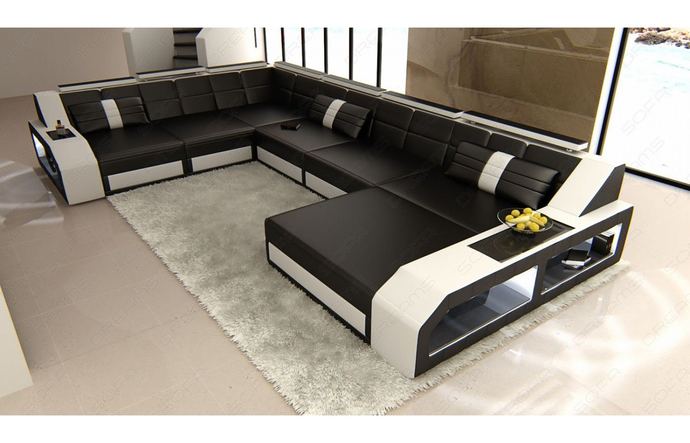 xxl wohnlandschaft matera leder wohnlandschaft sofa und led. Black Bedroom Furniture Sets. Home Design Ideas